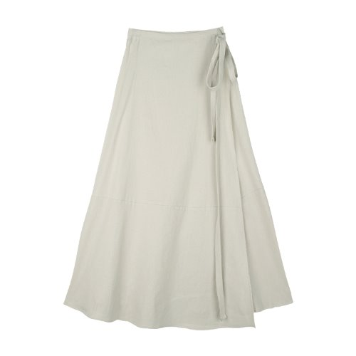 iuw774 linen flared long wrap skirt (beige)