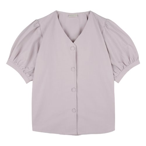 iuw748 puff sleeve half shirts (light purple)