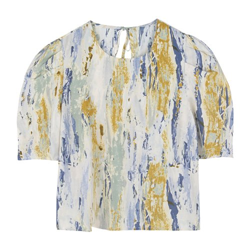 iuw759 watery painted puff blouse
