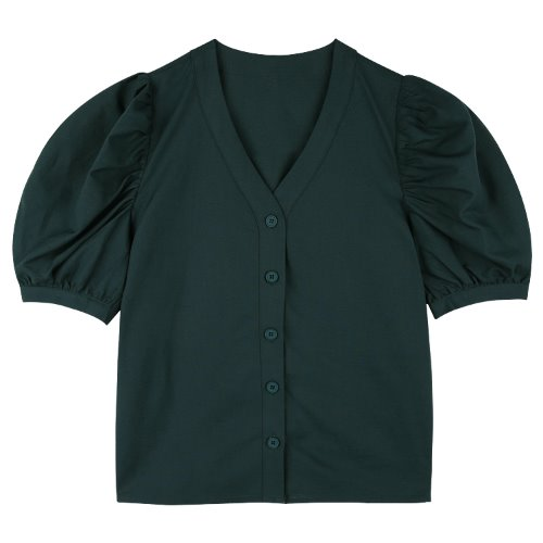 iuw751 linen v neck puff blouse (green)