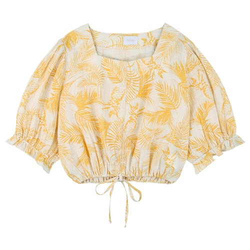 iuw760 waist string banding blouse (yellow)
