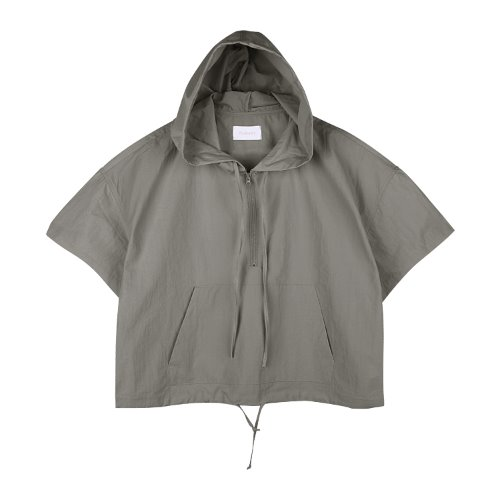 iuw767 nylon anorak zip up (charcoal)