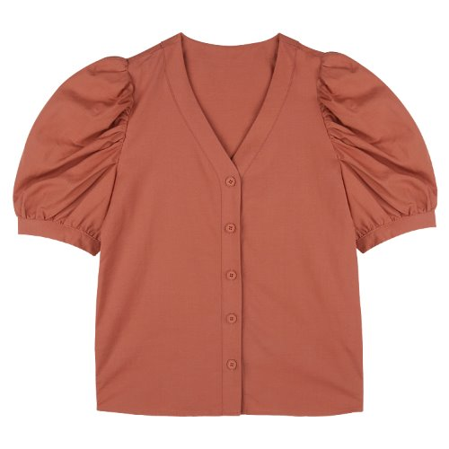 iuw752 linen v neck puff blouse (brick)