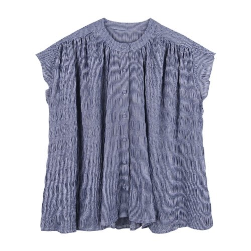 iuw737 belted check sleeveless blouse (navy)