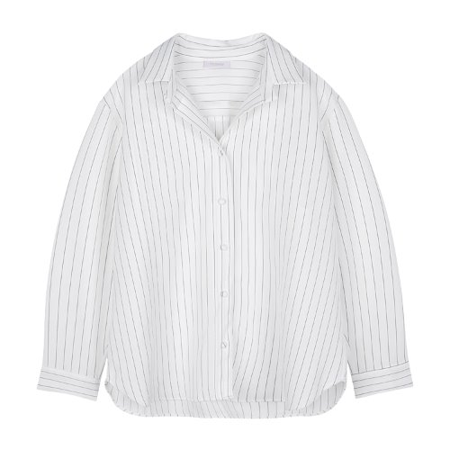 iuw800 open collar stripe shirts (white)