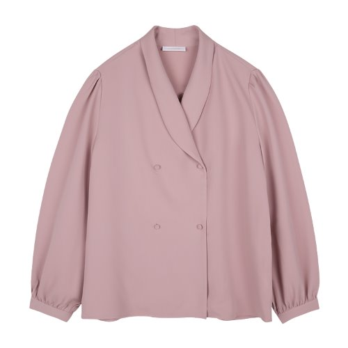 iuw802 round collar double blouse (pink)