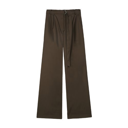 iuw829 D ring belted long slacks (brown)