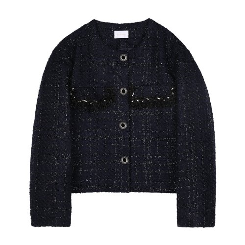 iuw820 rubi button tweed JK (navy)