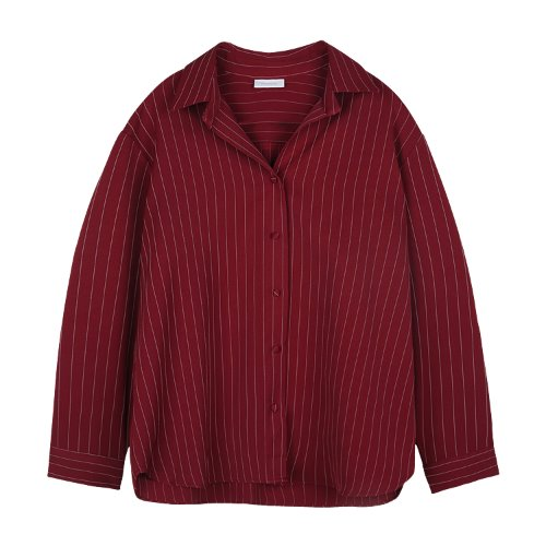 iuw801 open collar stripe shirts (deep red)