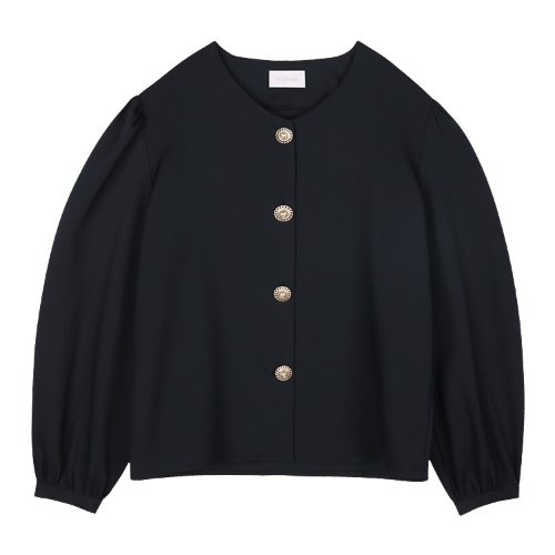 iuw815 pearl button V blouse (navy)