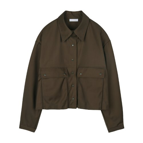 iuw814 crop pocket shirts JK (brown)