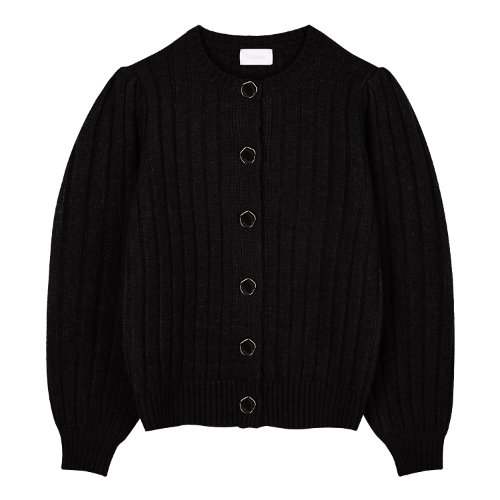 iuw886 point button puff cardigan (black)