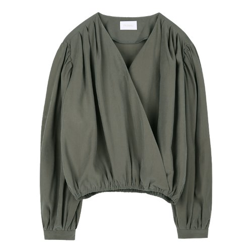 iuw843 crop wrap blouse (khaki)