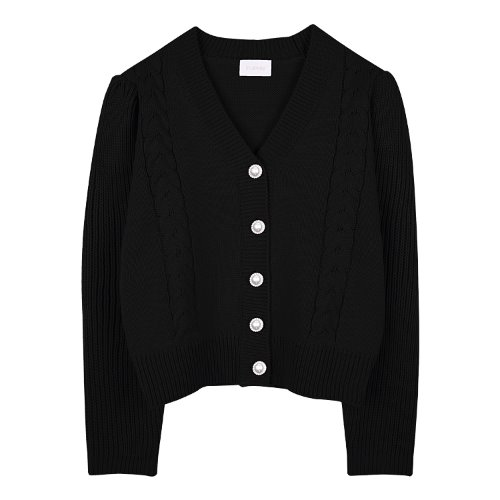 iuw876 twist pearl button cardigan (black)