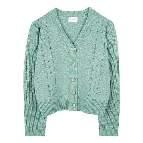 iuw875 twist pearl button cardigan (mint)