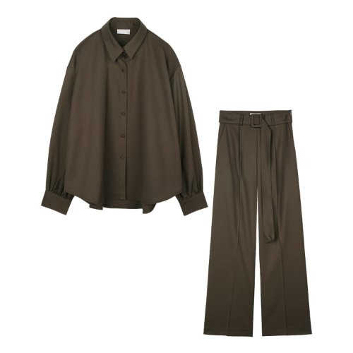 iuw837 [SET] modern loose fit shirts+modern belted slacks (brown)