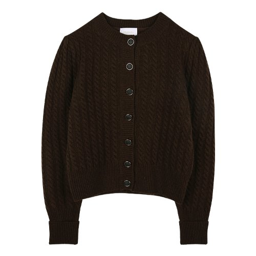 iuw878 twist round neck cardigan (brown)