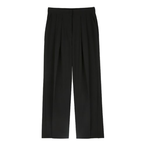 iuw866 Pintuck wide slacks (black)