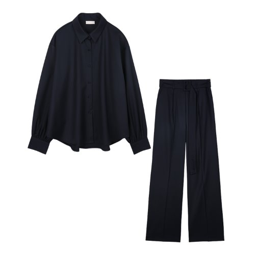 iuw838 [SET] modern loose fit shirts+modern belted slacks (navy)