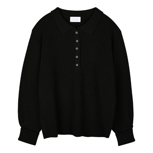 iuw896 button collar knit (black)