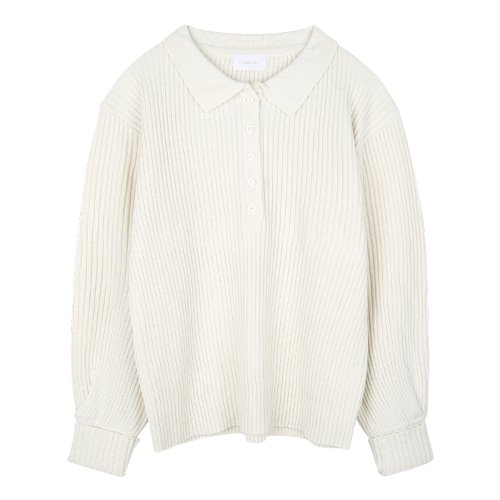 iuw897 button collar knit (cream)