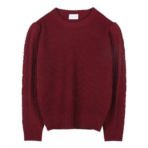 iuw892 twisty sleeve puff knit (wine)