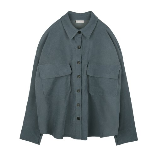 iuw918 big pocket box shirts (navy)