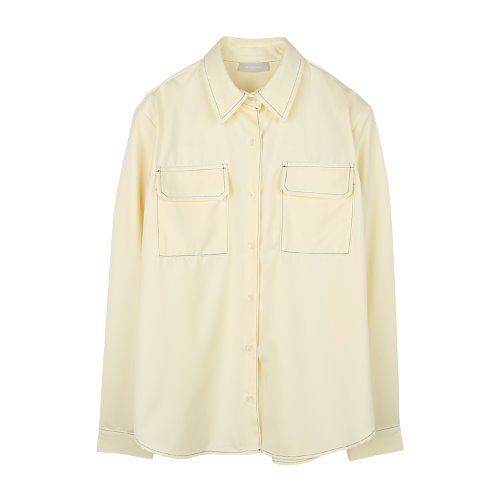 iuw913 paded pocket shirts (yellowcream)