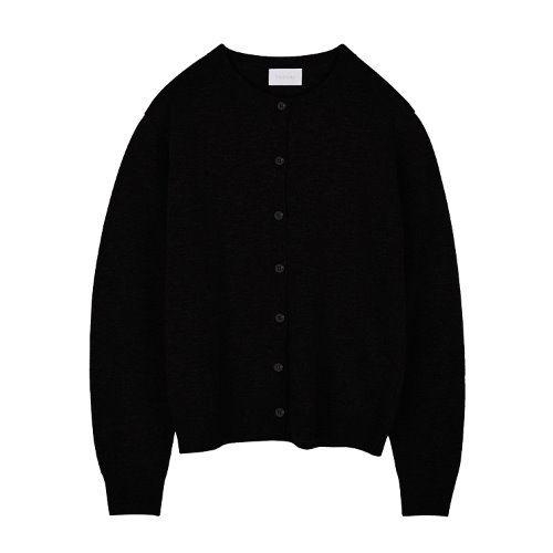 iuw941 simple rounded cardigan (black)
