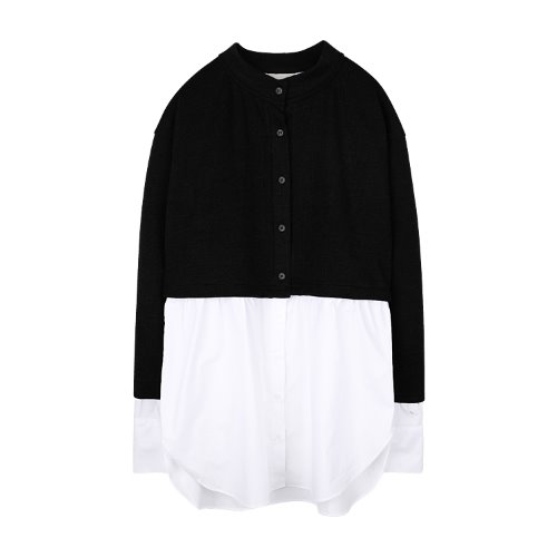 iuw921 layered shirts knit (black)