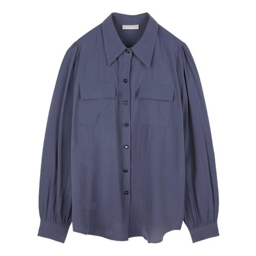 iuw979 puffsleeve pocket blouse (blue)
