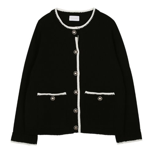 iuw983 tweed combi knit cardigan (black)