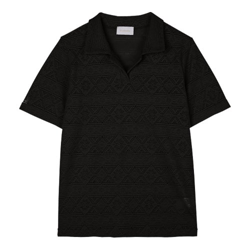 iuw973 lace seethrough collar T (black)