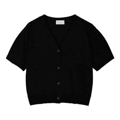 iuw986 linen knit cardigan (black)