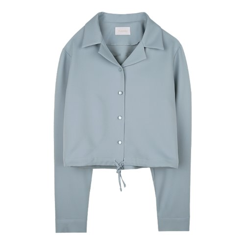 iuw976 open collar string blouse (skyblue)