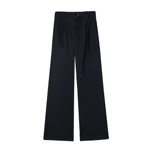 iuw828 D ring belted long slacks (navy)