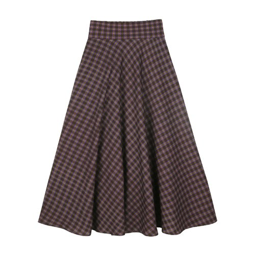 iuw826 two tone check flare skirt (purple)