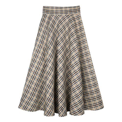 iuw861 flared long check skirt (check)