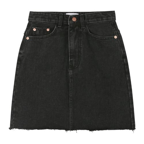 iuw992 grayish mini denim skirt (black)