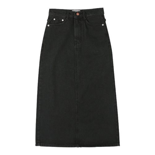 iuw991 back slit long skirt (black)